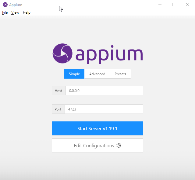 Appium Server hochfahren