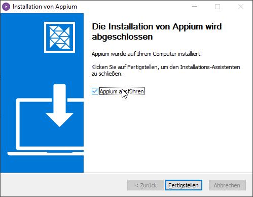 Appium Desktop Einrichtung