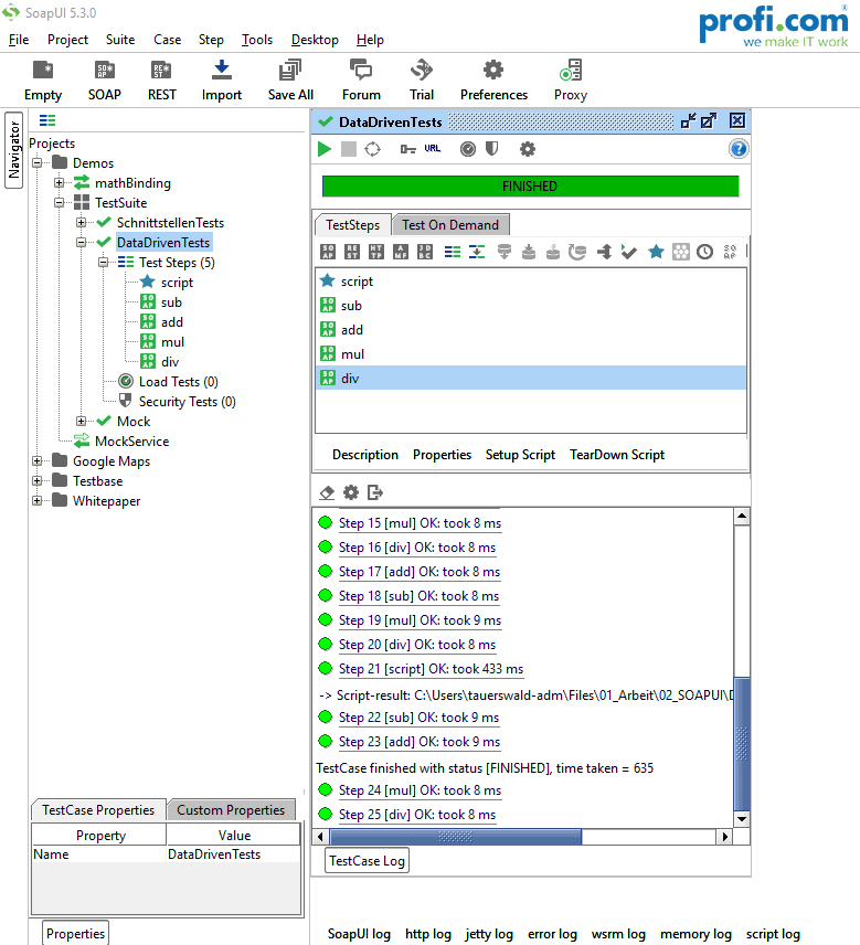Ausführung Testset beim Use Case SOAP UI