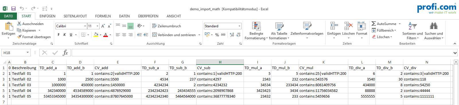 Excel Import der Testdaten mit erwarteten Ergebnise beim Use Case SOAP UI